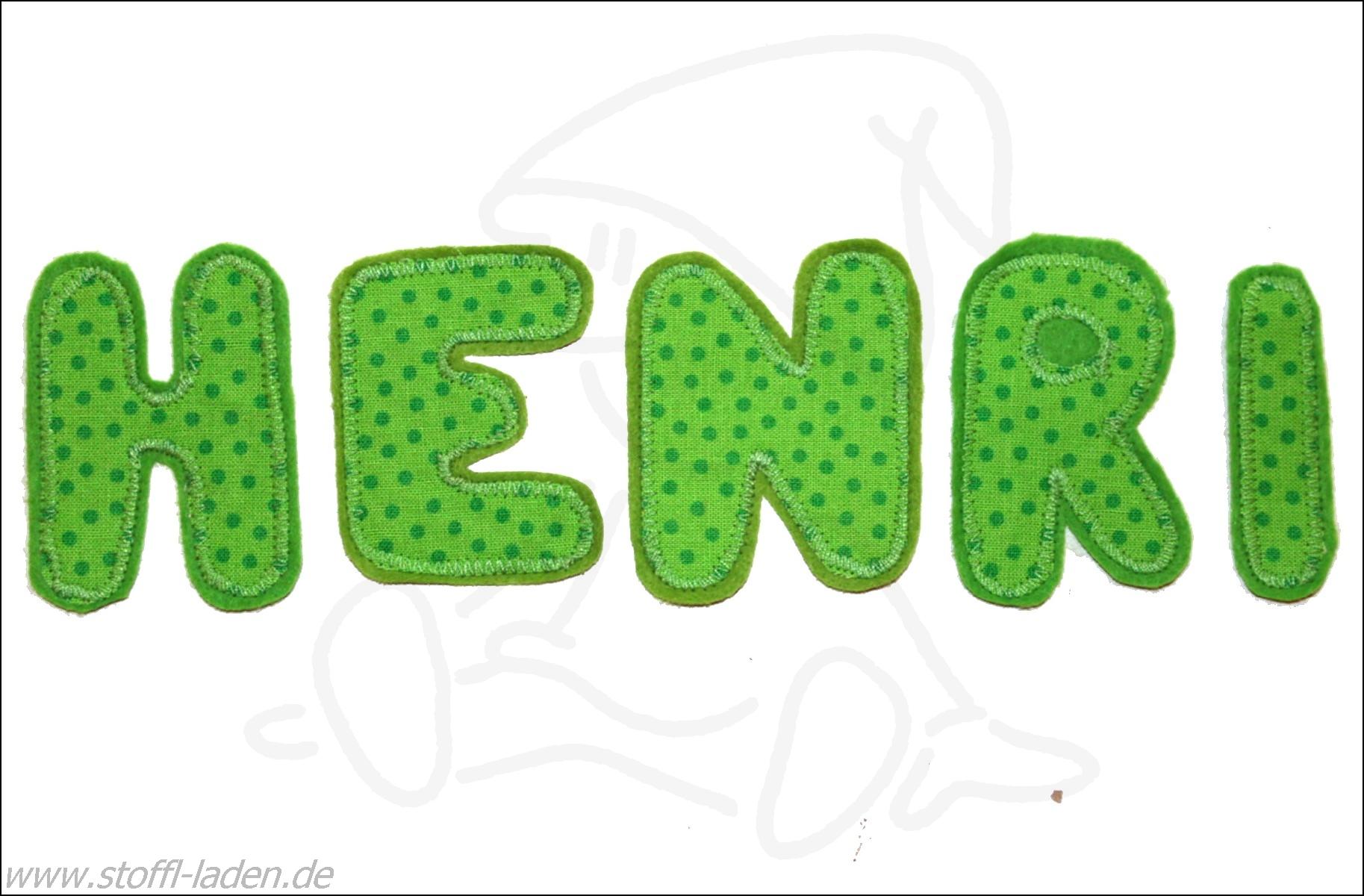 APPLIKATIONEN * Buchstaben grün * Bügelbild * Aufnäher